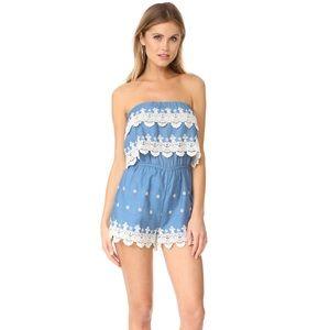 NWOT Endless Rose Crochet Romper Chambray Blue S
